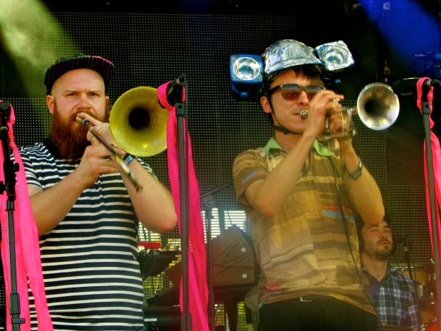 Adam Dotson (left) and Alex Toth of Brooklyn band Rubblebucket (Hillside Stage, April 26.)